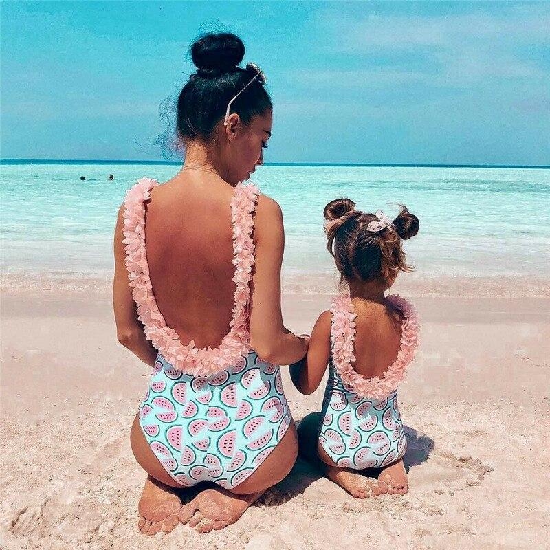 La familia de una pieza trajes de niño bebé niña sandía traje 3D Flor de baño traje Bikini