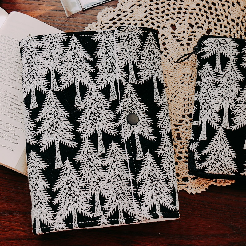 Mori Forest Embroidery Loose Leaf Notebook Cloth Bookcase Ins Style 6 Ring Journal A5A6 Binder Budget Book Person Diary Planner