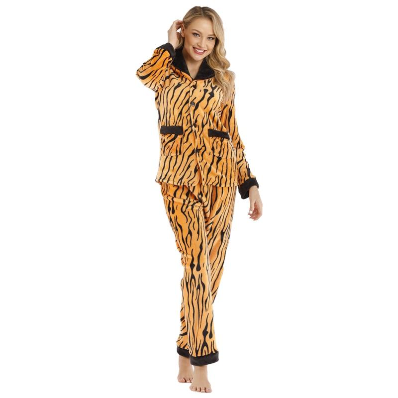 Сексуальный женский пижамный комплект с леопардовым принтом, зимний теплый фланелевый пижамный комплект домашней одежды, женский теплый т...
