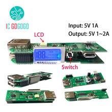 LCD Power Bank Ladegerät Platine DIY 18650 Polymer Lipo Li-Ion 5V Boost Step Up Netzteil Modul PCB 2A 2,1 A