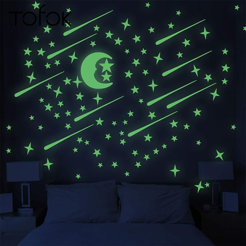 Tofok Meteor Shower Luminous Sticker Starry Sky Moon Stars Fluorescent Ceiling Wall Baby Kids Room Glowing Decorative Sticker