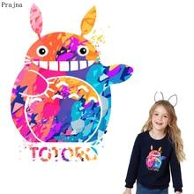 Prajna Totoro-Badge en vinyle   Patchs chat de transfert en fer sur vêtements à rayures, autocollants Thermo transfert thermique, Applique bricolage