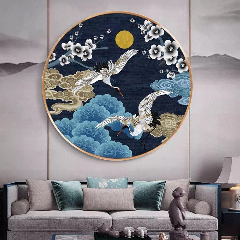 YNX 5D алмазная живопись «сделай сам», китайский журавль ветра, круглая квадратная Алмазная вышивка крестиком, алмазная вышивка, украшение дл...