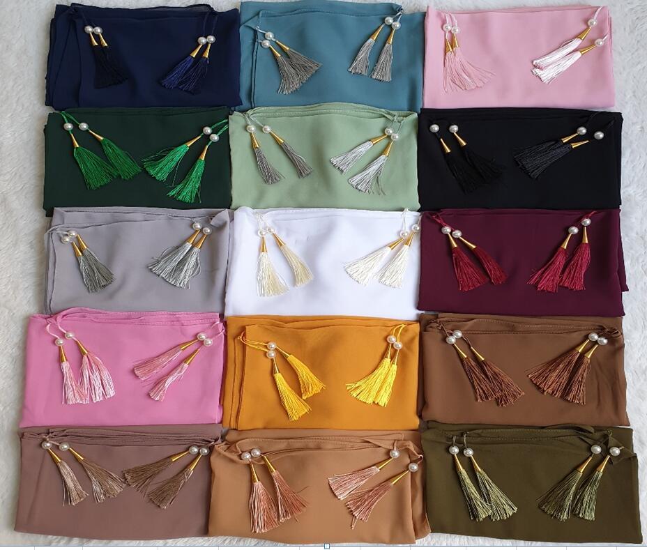 Women Plain Bubble Scarf Head Tassel hijab wrap solid instant Shawls Foulard Femme Muslim hijabs Pearl Scarves 10pc/lot