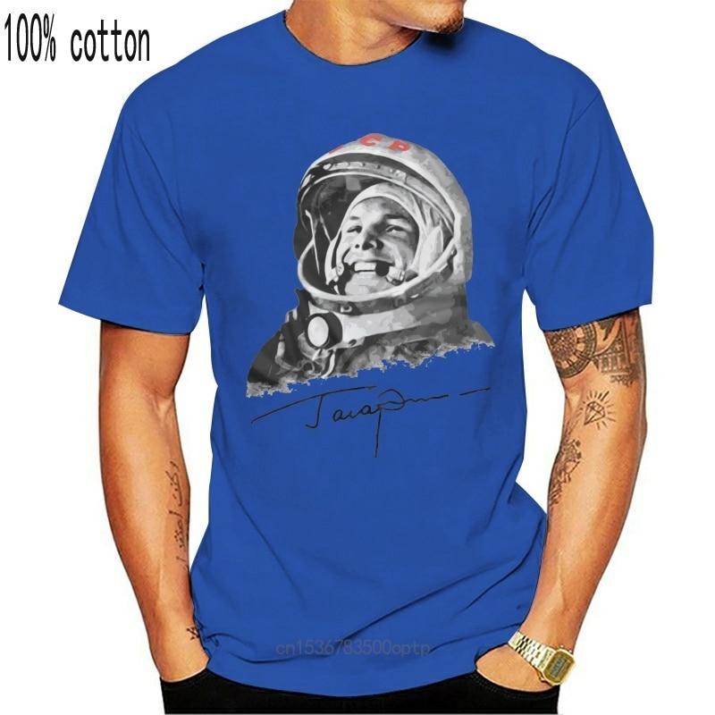 New 2021 T Shirt Russia Ussr First World Soviet Cosmonaut Gagarin Cool Designe Hq Men Adult Slim Fit T Shirt S Xxl 032777
