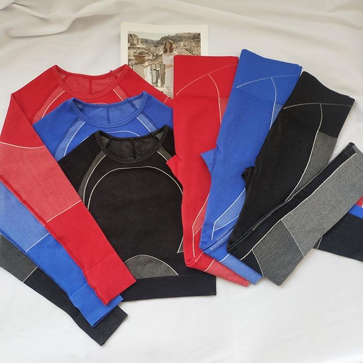 Women Sport Suit Hollow Gym Workout Clothes Long Sleeve Fitness Crop Top + High Waist Energy Seamless Leggings Yoga Set