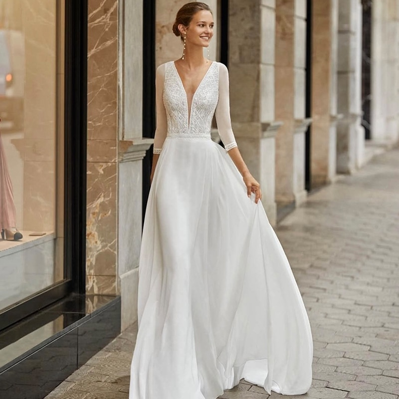 Get Bohemian Wedding Dress 2021 Long Sleeve V-neck Floor Length Chiffon A-line Lace Back Bridal Gowns With Button Charming For Women