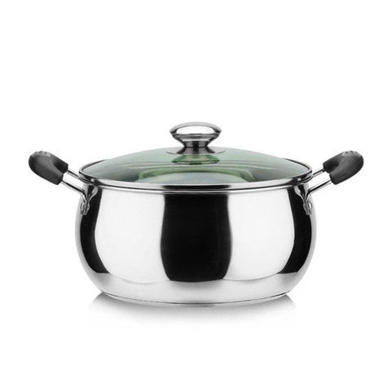 وعاء الحساء من الفولاذ المقاوم للصدأ, وعاء حساء سميك من الفولاذ المقاوم للصدأ ، وعاء صغير التعريفي ، غلاية ، وعاء الحساء باللؤلؤ ، مجموعة أوا...