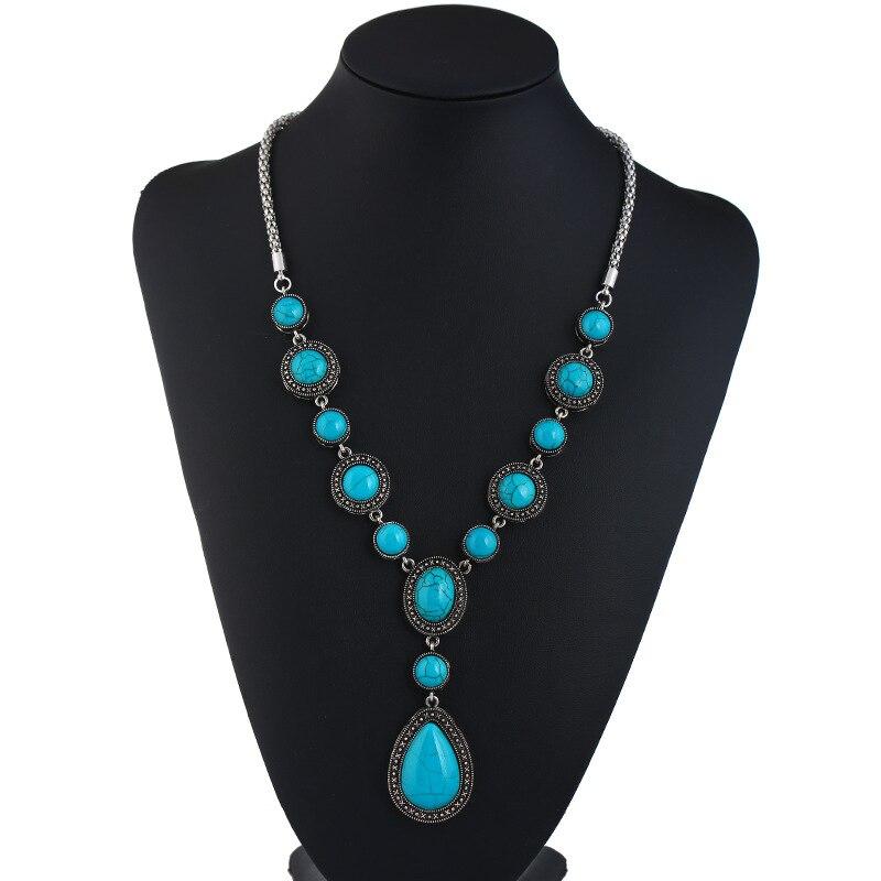 Collar largo de gota de agua, collar de piedra verde para mujer, joyería, collares y colgantes, dijes, joyería, suéter, cadena de regalo