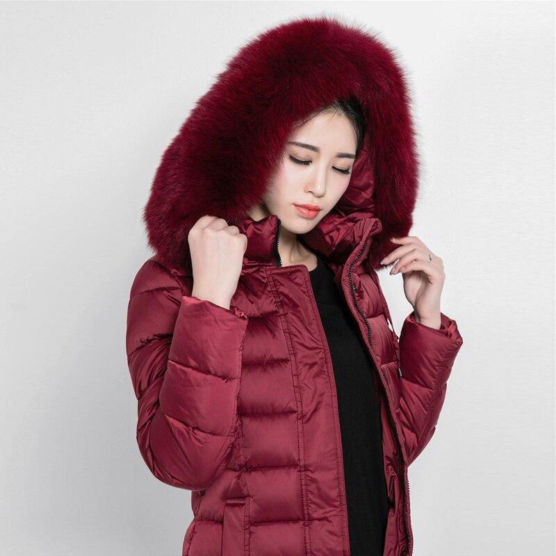 Winter Women Coat Fashion Windproof Long Outwear Parkas Natural Fox Fur Collar White Duck Down Thick Warm Female Overcoat Luxury