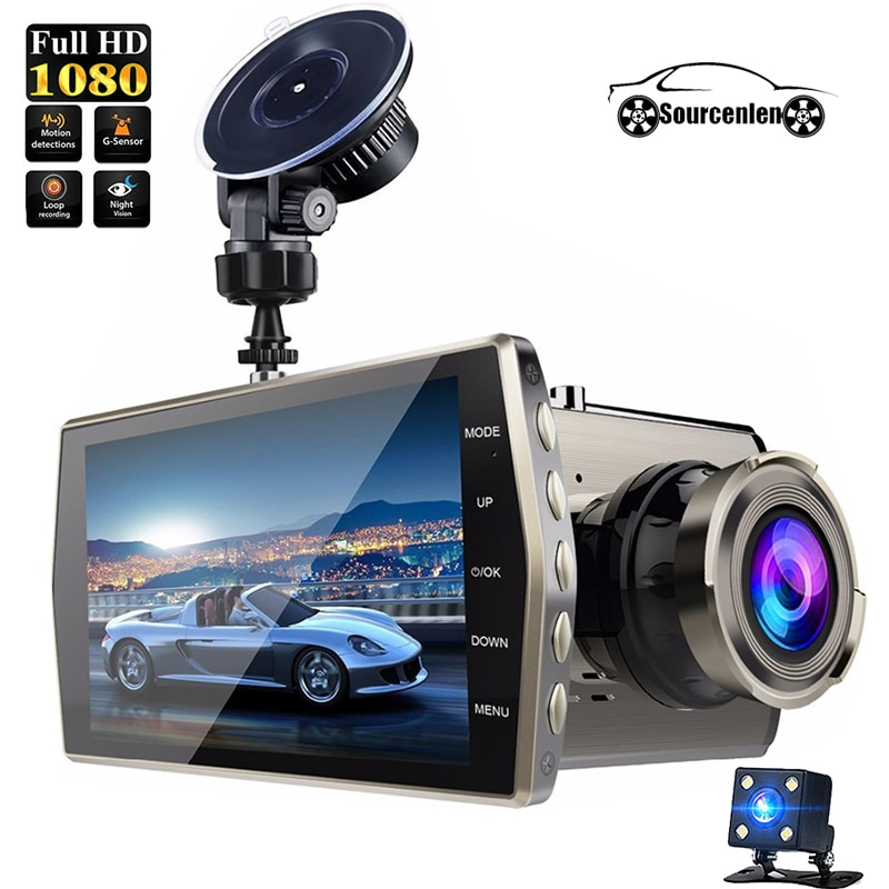 4 pulgadas FHD 1080P IPS g-sensor de visión nocturna cámara de doble lente grabación cíclica Video registrador auto Cámara Idioma Ruso