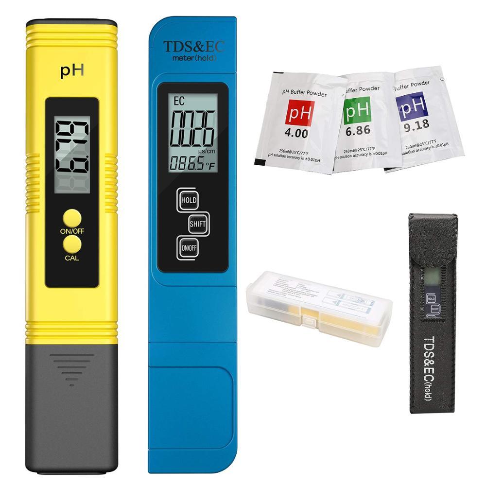 2Pcs TDS Meter Digital Water Tester Digital 0.0-14.0 PH Meter Tester 0-9990ppm TDS&EC LCD Water Purity PPM Aquarium Filter