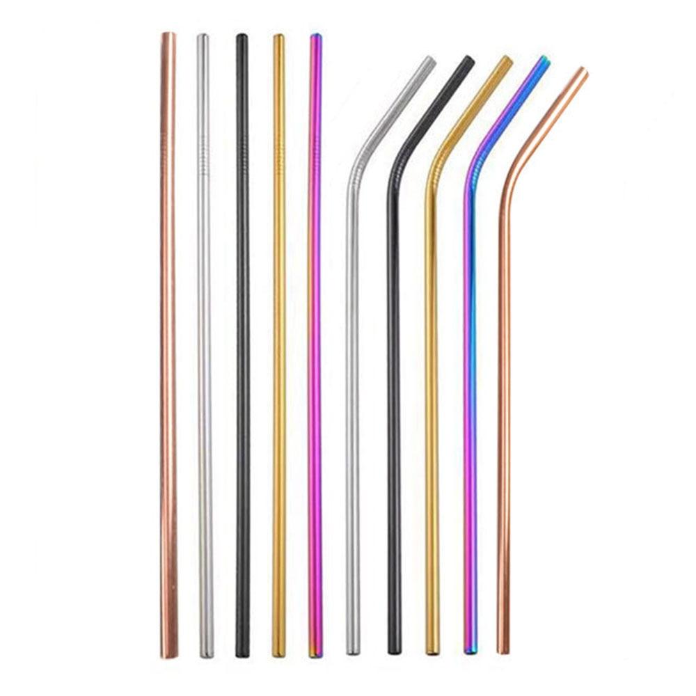 Pajita de acero inoxidable reutilizable, pajilla de Metal ecológica CIQ, pajitas de lujo para bodas, accesorios de barra de fiesta multicolor
