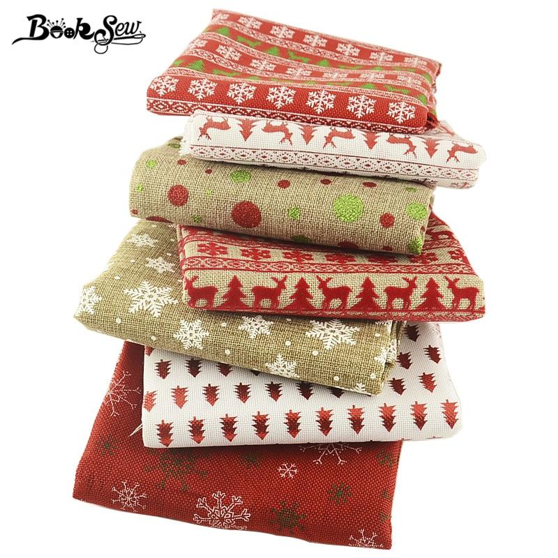 Tela acolchada Patchwork Navidad para mantel de mesa para hogar Lino 45cm x 50cm precortado Paquete de costura artesanías Tissu Material flor