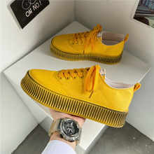 Кроссовки мужские в стиле ретро, Вулканизированная подошва, холщовые, повседневная обувь, цвет желтый, лето