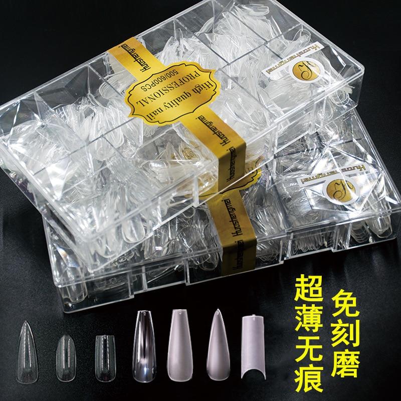 Tip de uñas zhang shui di trapezoide C Arc todo Semi-doble uso agujero tallado pulido Ultra-Delgado doblar Seemless 500 Uds salón de uñas