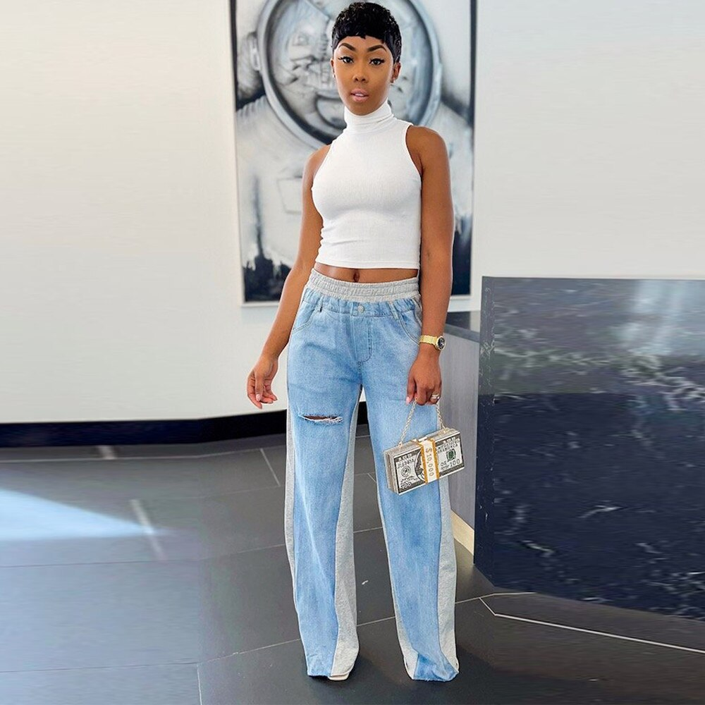 straight leg mid rise faded jeans Elastic Mid-waist Patchwork Fashion Casual Straight-leg Denim Trousers Pockets Hole Front Wide Leg Underpant Summer Loose Jeans