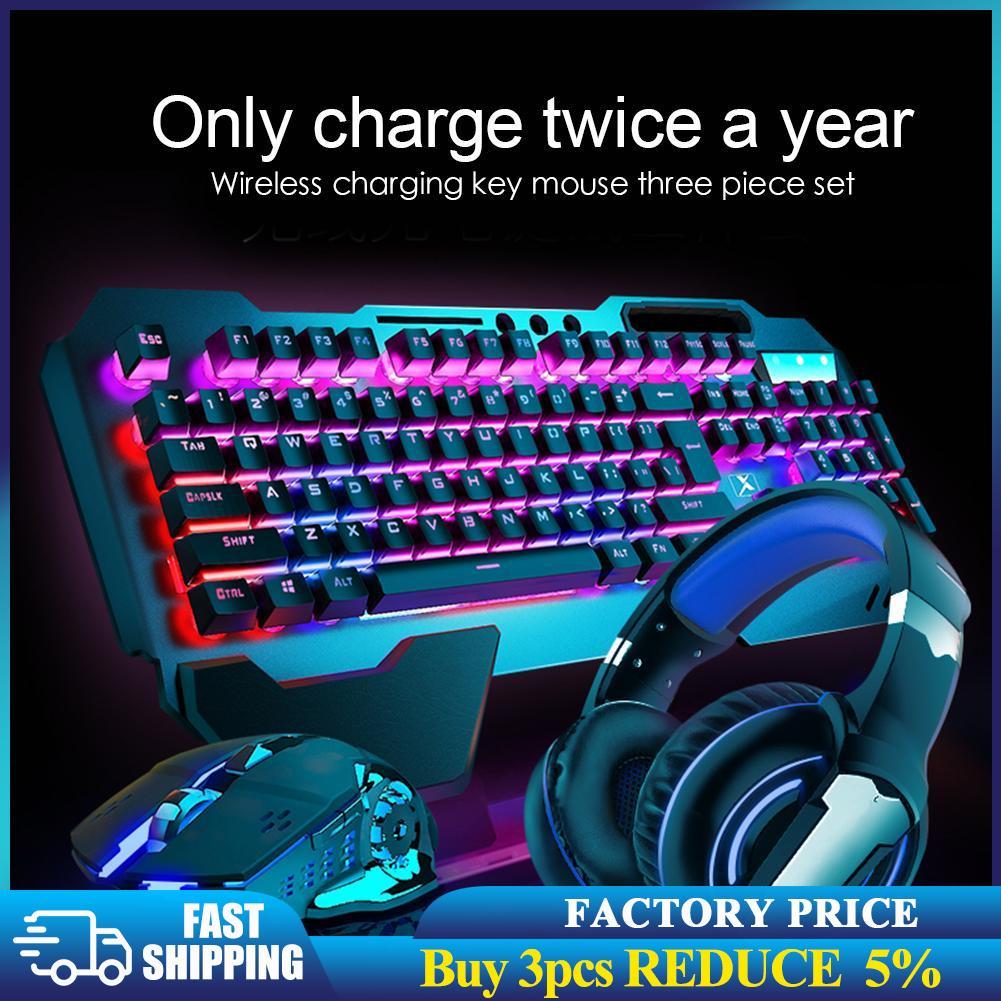 K680 اللاسلكية الألعاب لوحة مفاتيح وماوس الخلفية لوحة معدنية قابلة للشحن RGB الخلفية ألعاب ماوس مقاوم للماء لوحة المفاتيح