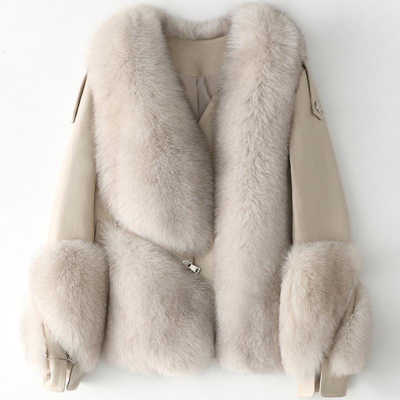 Luxury Real Fox Fur Sheepskin Coat Ladies Women's Patchwork Genuine Leather Short Jacket For Autumn Winter Warm Outwear