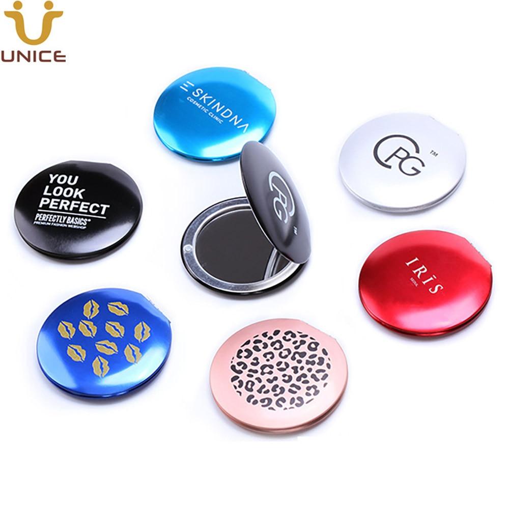 100 шт./лот заказной логотип алюминиевый сплав зеркало для макияжа компактное