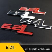 3D Metal 6.2L lettter Emblem Badge Car Body Sticker  Car Styling For Ford F150 6.2L Chevrolet C7 Camaro 2011-20  Car Accessories
