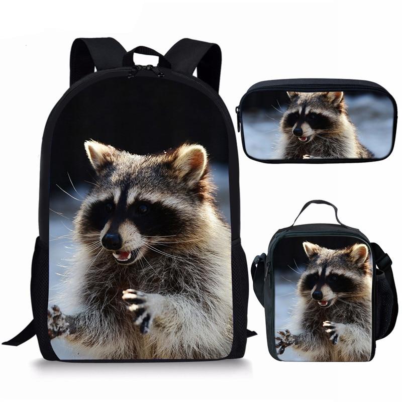 Cute Raccoon School Backpack for Boys Girls Japanese School Bags Mochila 16 inch Orthopedic Backpack Primary Child