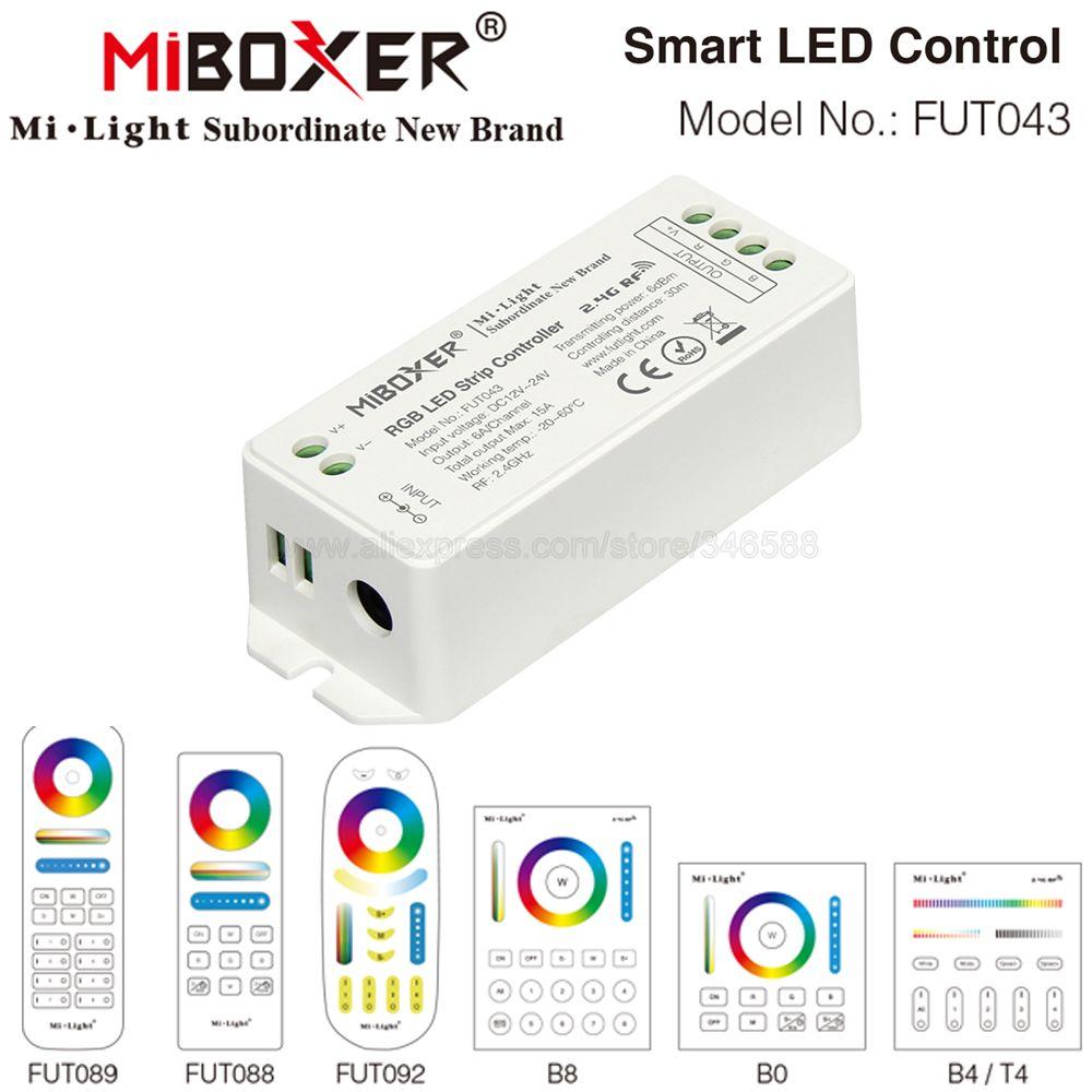 MiBoxer FUT043 RGB controlador de tira LED DC12V 24V 6A/CH Max 15A 2,4G remoto RF iOs/Android APP WiFi Alexa Control por voz de Google