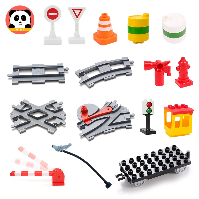 Big Building Blocks Steam Train Tracks Set Accessory Trailer Oil drum Compatible with Duplo Train Ca