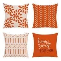 green geometry cushion cover 45x45cm linen pillowcase decorative sofa cushions pillow cover home decor orange pillow cases