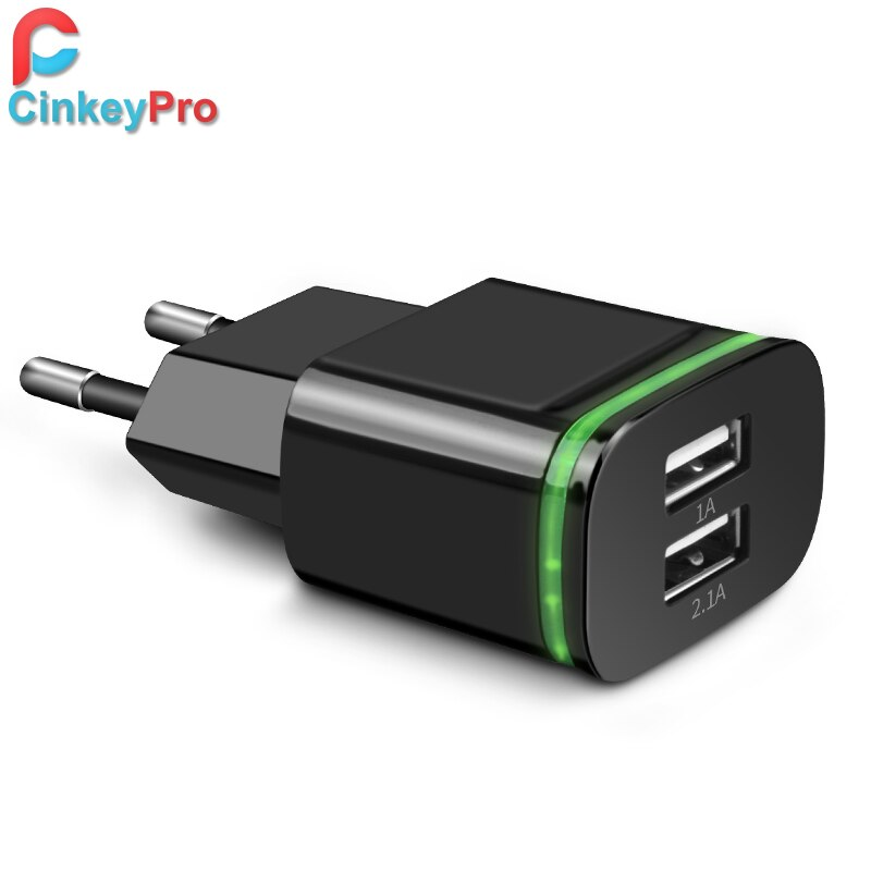 CinkeyPro enchufe de la UE 2 puertos LED cargador USB 5V 2A adaptador de pared de teléfono móvil Micro datos de carga para iPhone iPad Samsung
