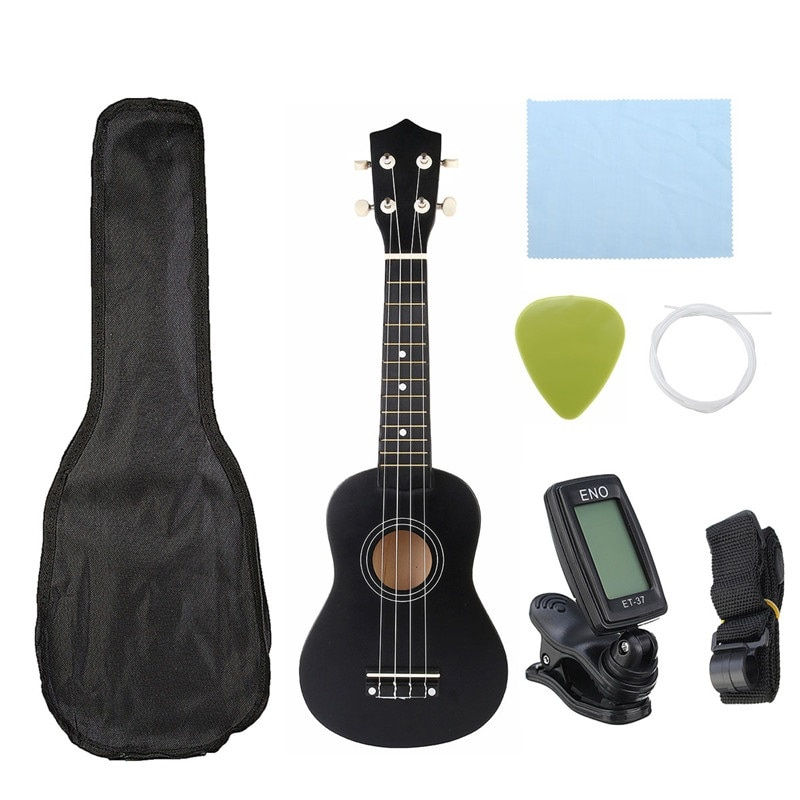 Ukulele Combo 21 Ukulele Black Soprano 4 Strings Uke Hawaii Bass Stringed Musical Instrument Set Kits+Tuner+String+Strap+Bag 21 inch acoustic guitar wood ukulele set ukulele concert ukulele soprano kit guit медиаторare uke bass 18