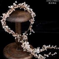 bridal hair band bead long headdress fairy beautiful celebrity wedding tiara versatile fairy bridesmaid headband