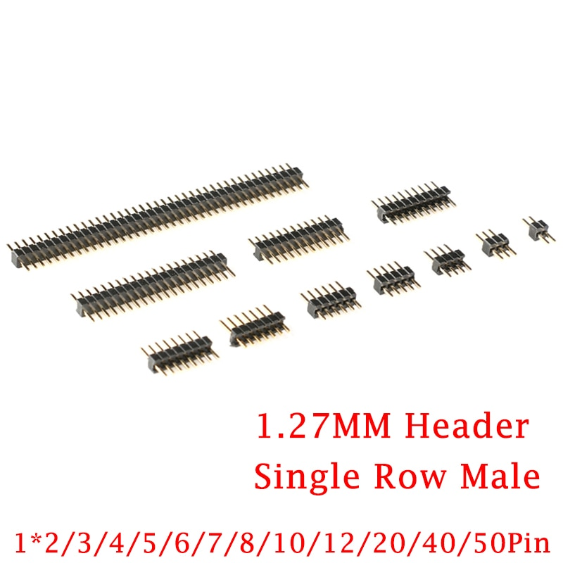 20Pcs/lot 1.27mm 1.27 Pin Header Single Row Male Breakaway PCB Board Connector Pinheader 1*2/4/5/6/8/10/12/20/40p/50p