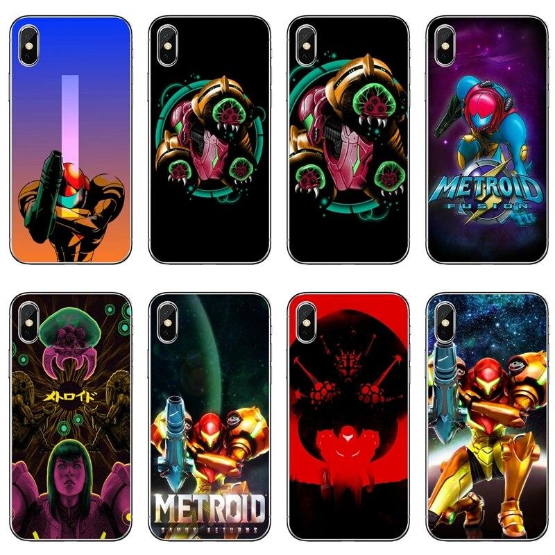 Accesorios de la caja del teléfono para iPhone 11 Pro XS Max XR 8X8 7 6 6S Plus 5 5S SE 4S 4 iPod Touch 5 6 Metroid II Samus devuelve