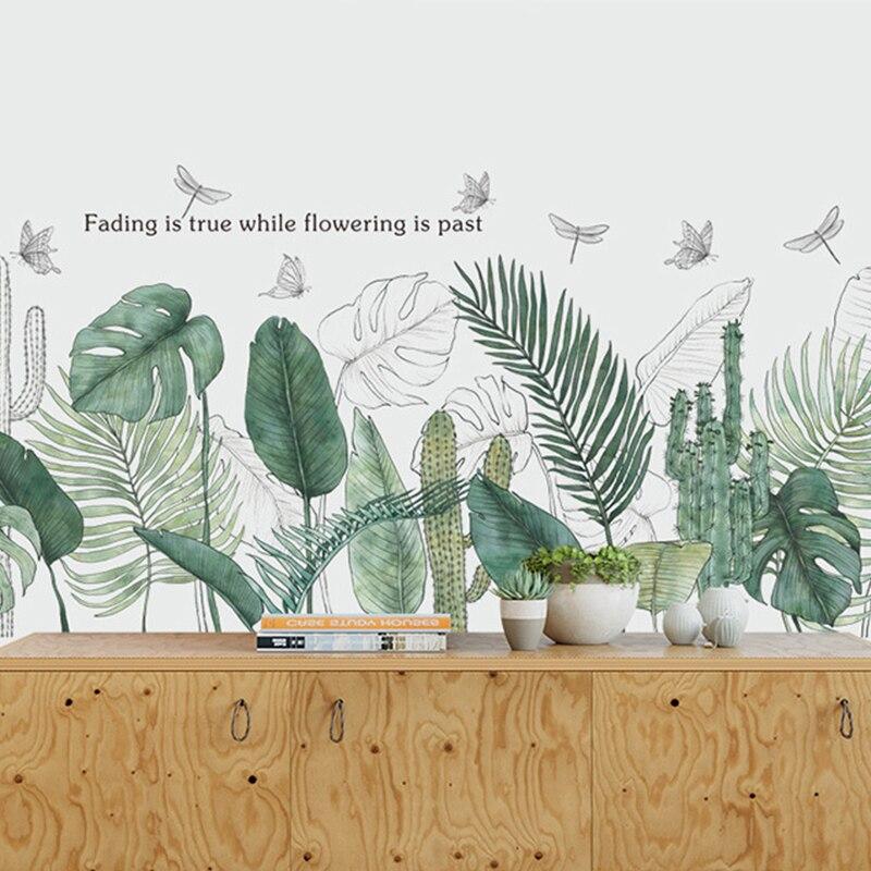 Nordic Grüne Blätter Wand Aufkleber für Schlafzimmer wohnzimmer Wand Dekor Küche Kinder zimmer DIY Vinyl Wand Aufkleber Wand Home decor