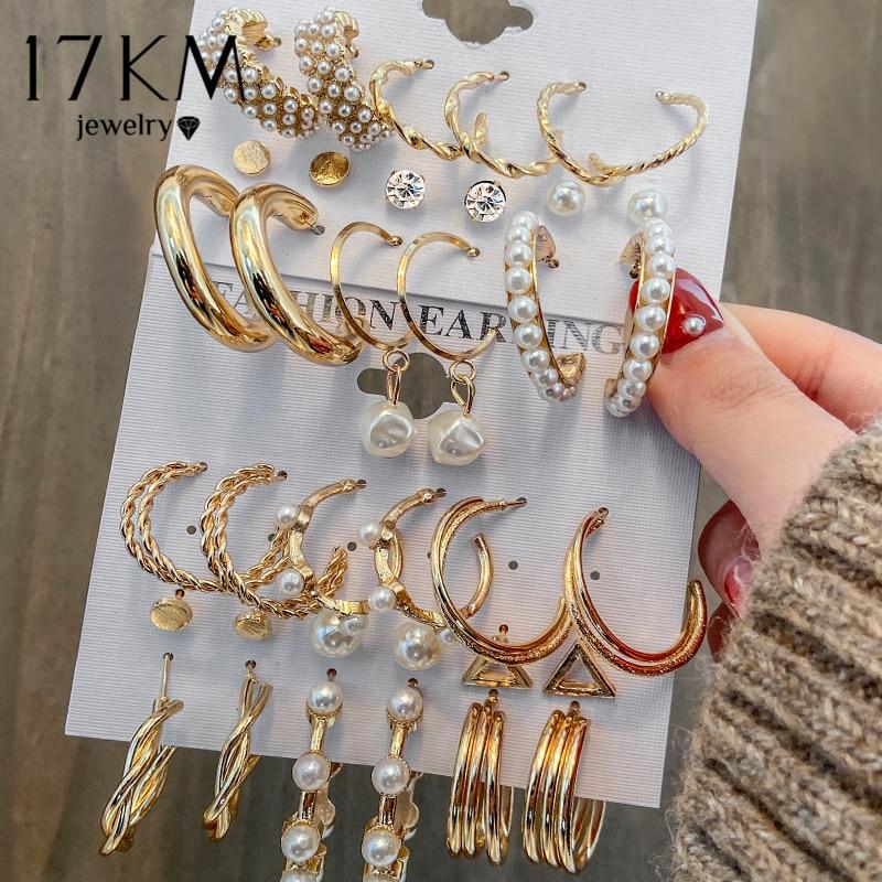 17KM Fashion Pearl Hoop Earrings Set For Women Geometirc Gold Metal Circle Hoop Earrings Brincos 2021 Trend Jewelry Gift