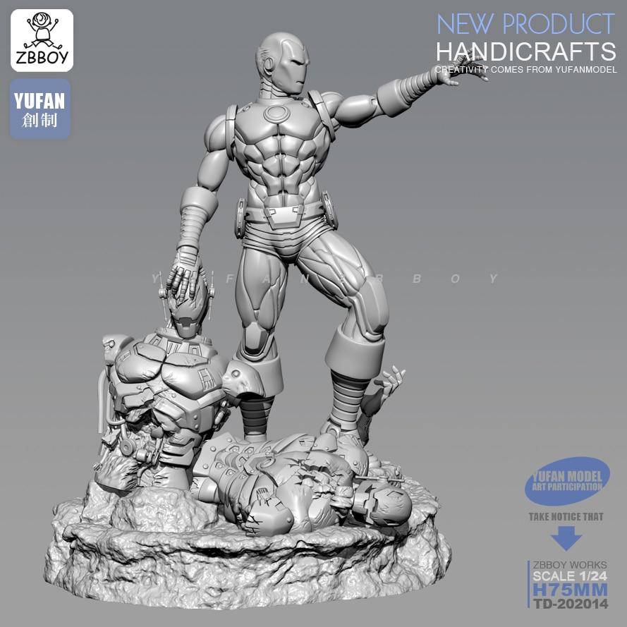 1/24 la figura de resina Kits de hombre de hierro y Ultron resina soldado modelo-montado 75MM TD-202014