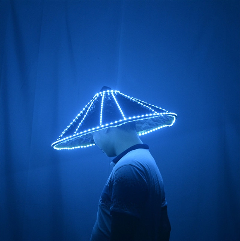 LED light bamboo straw hat Brawl DJ Assassin bar nightclub show costume props custom hat helmet