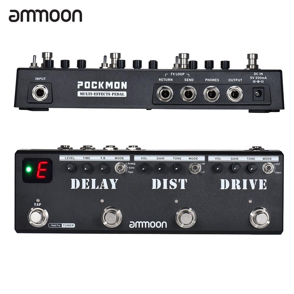 Tira de pedales para guitarra con múltiples efectos ammoon POCKMON, sintonizador con retardo de distorsión, Overdrive FX Loop, accesorios para guitarra