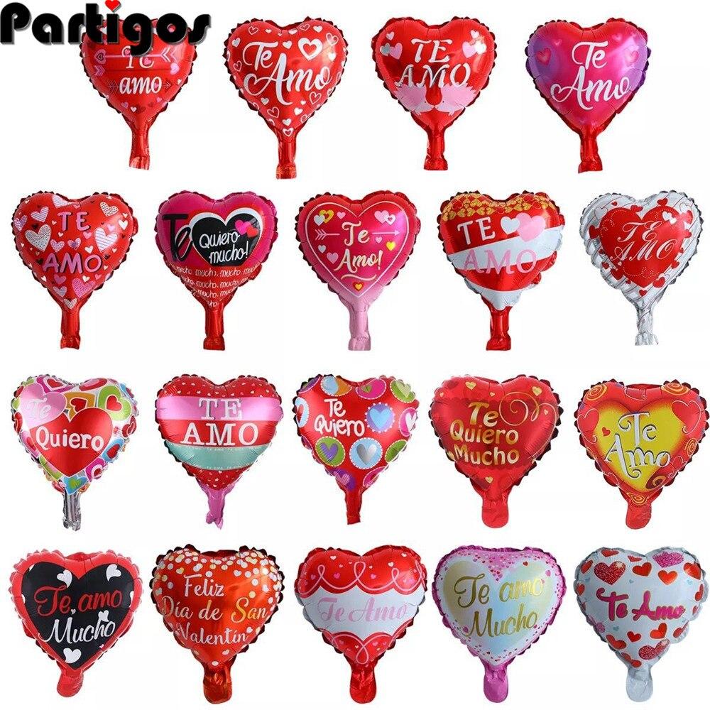 10 unids/lote de 10 pulgadas, globos de corazón para bodas, San Valentín, TE AMO, globos de helio de aluminio, globos de decoración para bodas y cumpleaños