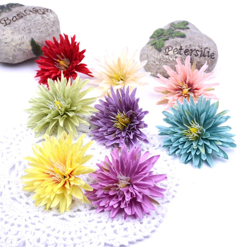 10 шт. 7 см Новый искусственный цветок Хризантема для свадьбы дома Ваза Декор DIY ВЕНОК Подарочная коробка зажим поддельный цветок Настоящее прикосновение