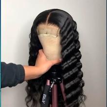 Perruque Lace Front Wig Remy à Deep Wave   Perruque frontale brésilienne de cheveux naturels de bébé 13x6 pour femmes