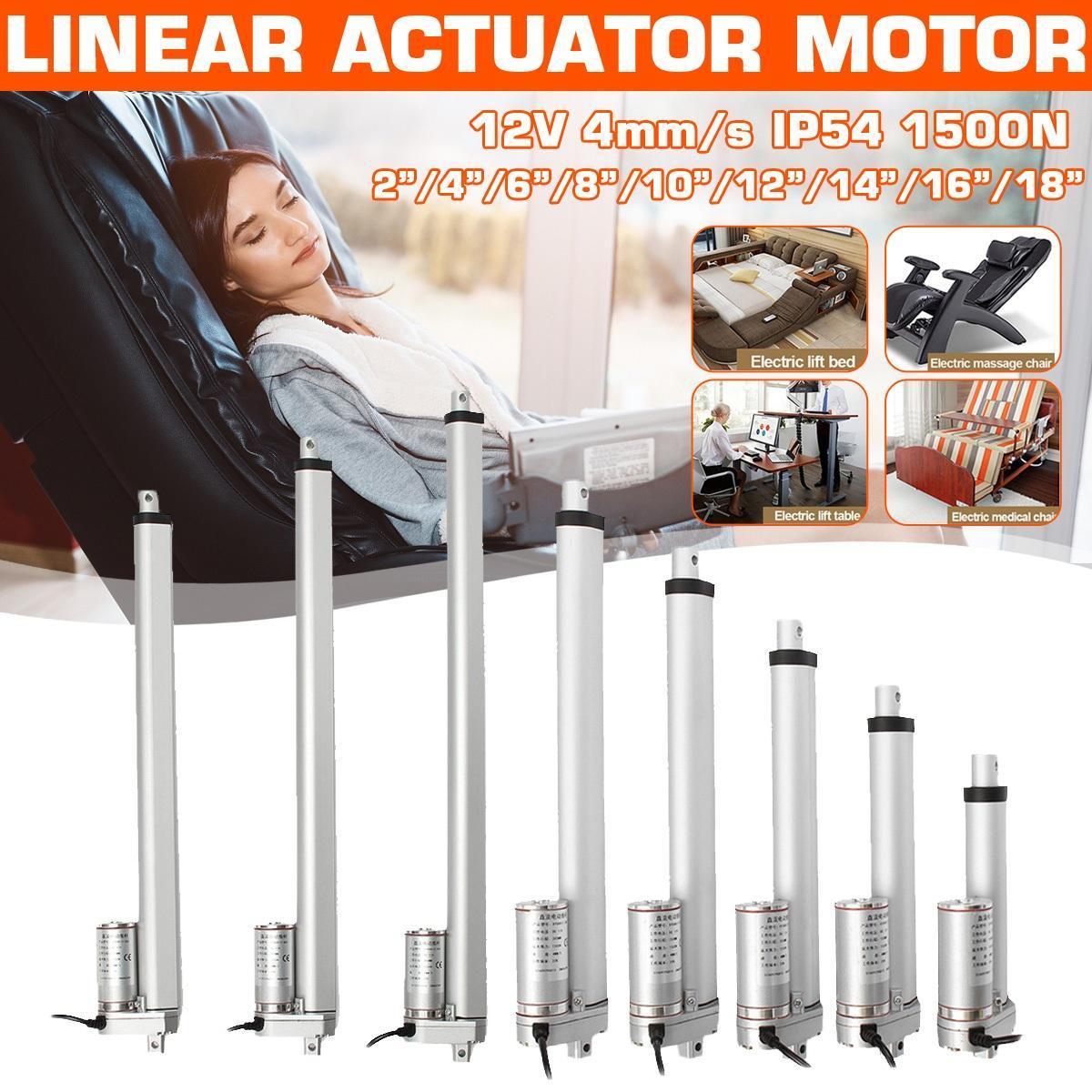 Motor lineal eléctrico de 4/6/8/10/12/14/16/18 pulgadas cc 12V 1500N, actuador lineal ajustable, Motor de actuador lineal de Metal