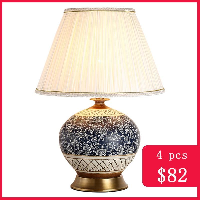 TUDA, lámpara de mesa de cerámica china, lámpara de mesita de noche, lámparas azules de Mesa para el dormitorio para sala de estar, lámpara Vintage para dormitorio, decoración del hogar