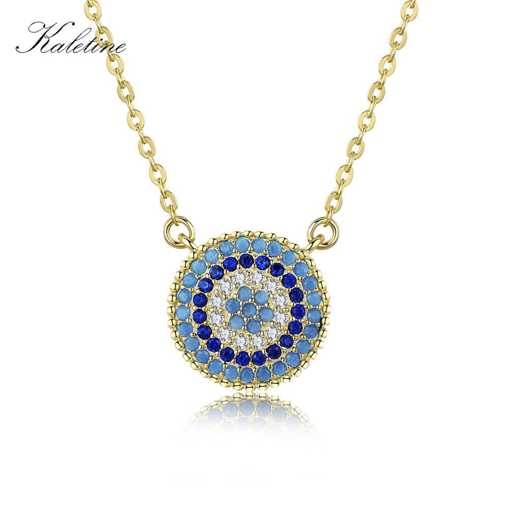 KALETINE 925 Sterling Silver Necklace Charm Round Pendant Evil Eye Necklace Women Paved Blue Zinconia Luck Turkey Jewelry 2019