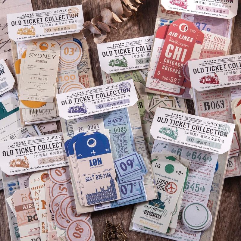 35 шт./компл. Ретро Старый билет Коллекция серии дневник-блокнот для заметок стационарные хлопья для скрапбукинга декоративная творческая п...