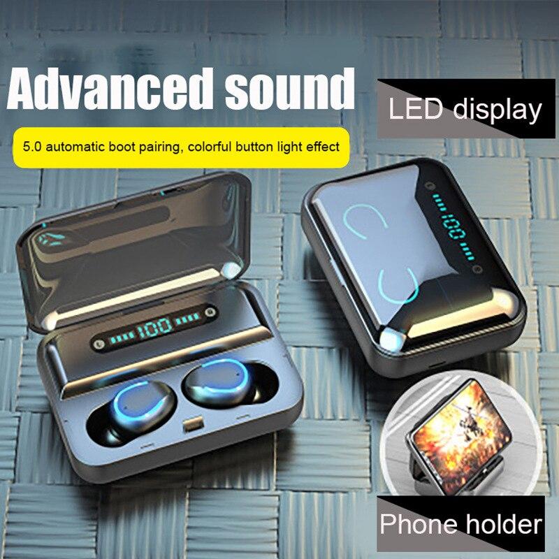 F9-5 Series Headphone Digital Display Charging Bay TWS Bluetooth Headphone Dual-pass Headphone Light with Breath Headphone