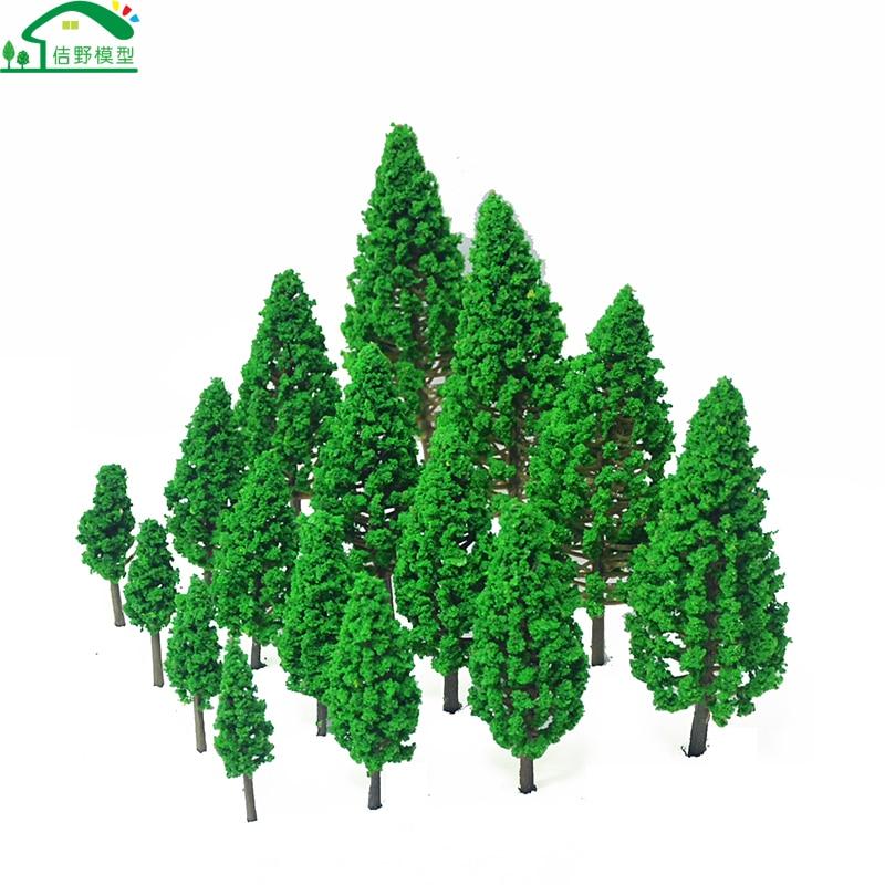 Модель пейзажа с зеленым пейзажем 20 шт., миниатюрная кедровая модель сосны для поезда, аксессуары для железной дороги, макетные материалы, д...