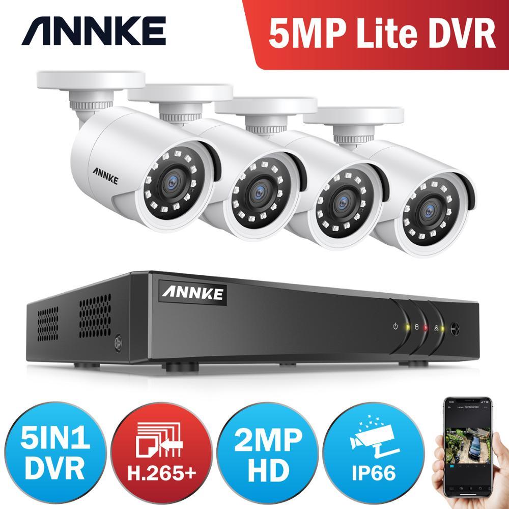Annke 2mp hd sistema de segurança de vídeo 8ch h.265 + 5mp lite dvr com 4x 1080p inteligente ir bala à prova dwaterproof água câmera vigilância cctv kit