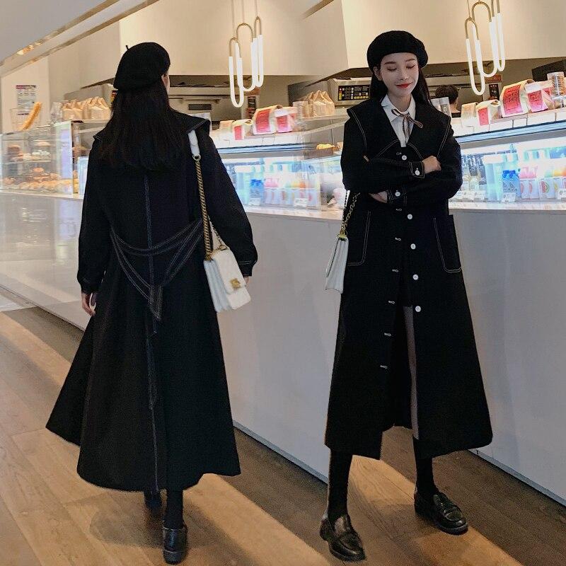أسود طويل خندق معطف المرأة الربيع الخريف واحدة الصدر فضفاضة عادية أنيقة الكورية نمط حزام سترة واقية ملابس خارجية 8805